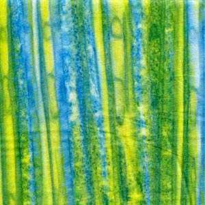 Blue-Green-Yellow Striped Batik Fabric