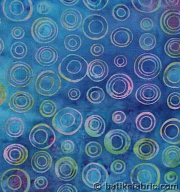 Blue Double Circle Batik Fabric