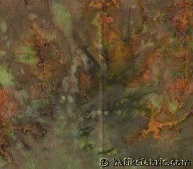 """Fairy Land"" Grey Brown Batik Fabric"