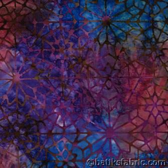 Blue - Purple Ceramics Batik Fabric By Bolt