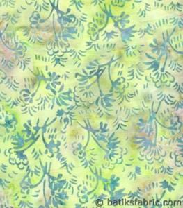 Lime Green - Cherry Blossom Indonesian Batik Fabric