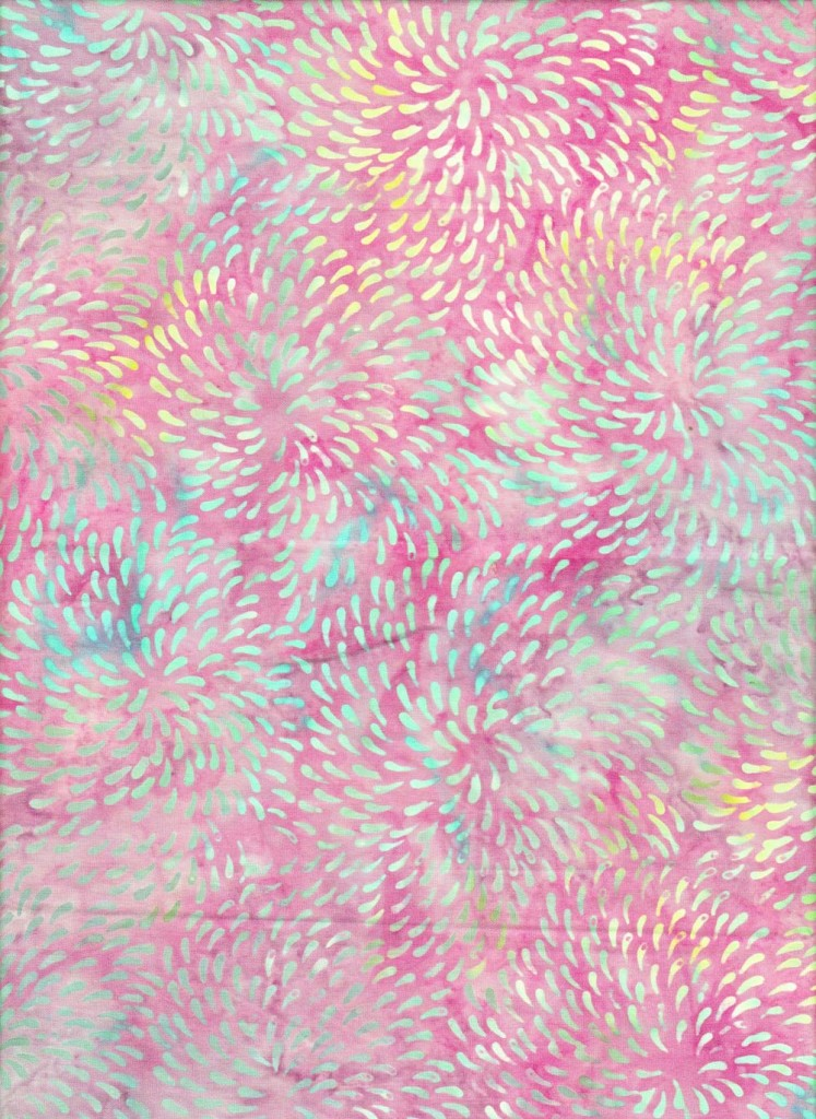 Blue Dot Vortex on Pink Batik Fabric