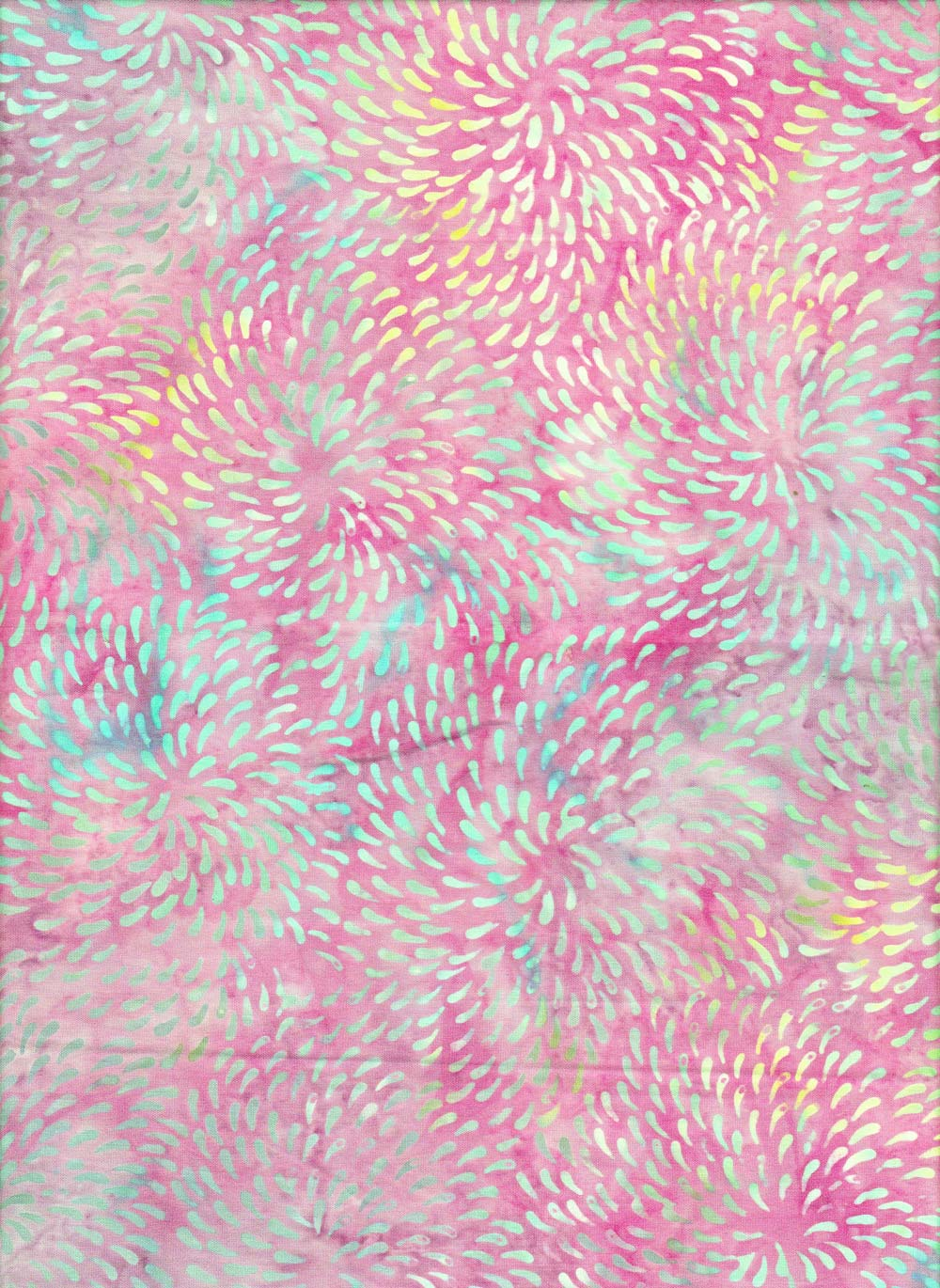 Blue Dot Vortex on Pink Batik Fabric