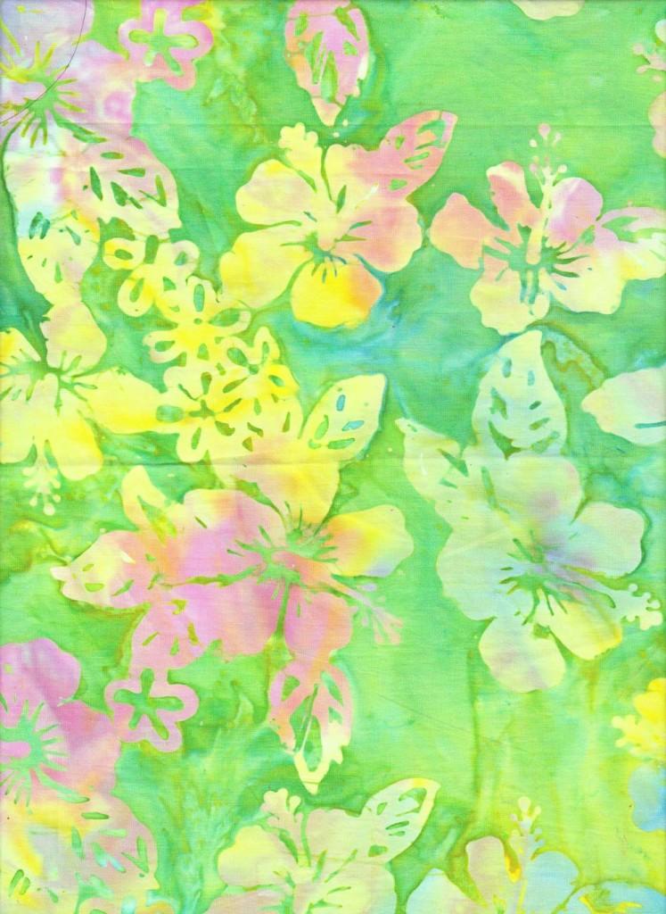 Green Hibiscus Batik Fabric