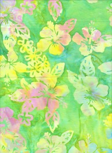 green hibiscus batik fabric