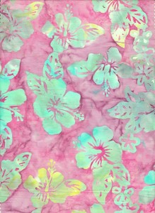 Purple hibiscus batik fabric