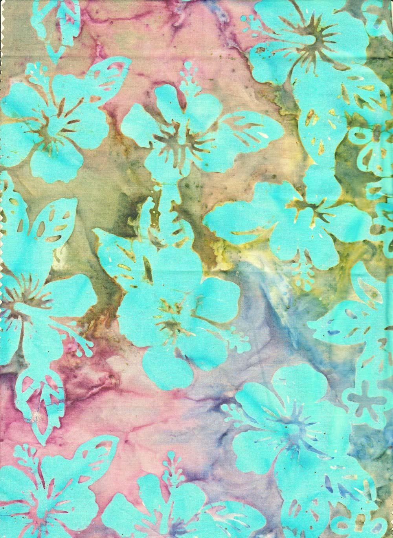Hisbiscus Turquoise Batik Fabric