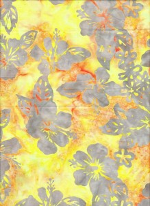 Hibiscus yellow batik fabric