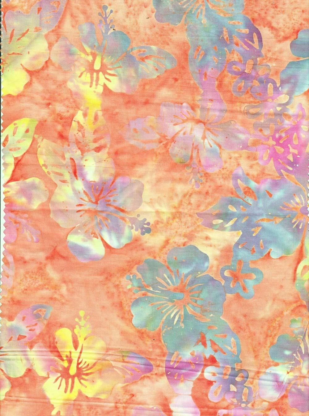 hibiscus orange batik fabric