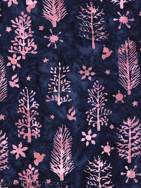 Pink and Darkblue Spruce-Dove-Star Batik Fabric