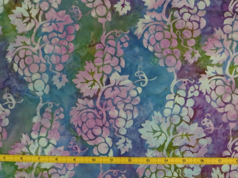 Grape Vines PURPLE BLUE GREEN Batik Fabric