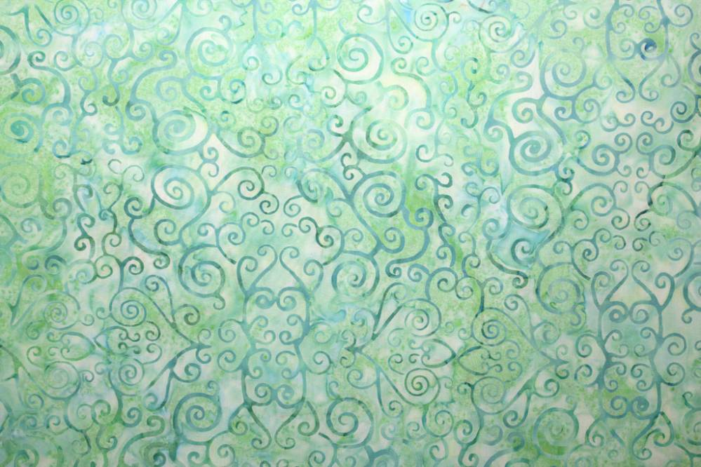 Swirl light pale green batik fabric